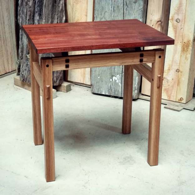 White Oak and Mahogany side table